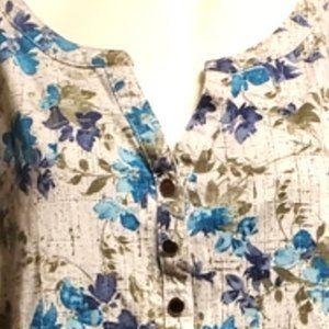 *3/$30* Studio Works Blue Floral Long Sleeve Tee